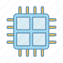 chip, cpu, four core, microchip, microprocessor, processor, quad core icon