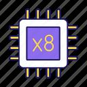 chip, cpu, eight core, microprocessor, multi-core, octa core, processor icon