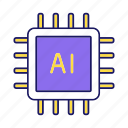 artificial intelligence, chip, cpu, digital, microchip, microprocessor, processor icon