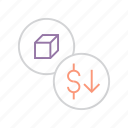 business, decrease, dollar, finance, product, shares, value icon