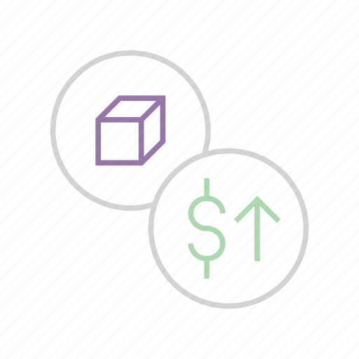 business, dollar, increase, price, product, shares, value icon