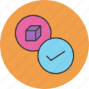 approve, confirm, package, product, select icon