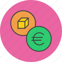 business, commerce, euro, finance, product, shopping, trade icon