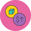 dollar, finance, increase, price, product, shares, value icon