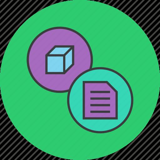 description, details, documentation, info, package, product, specification icon