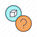 details, help, information, package, product, query, question icon
