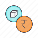 indian, inr, package, price, product, rupee icon