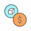 cost, dollar, financial, package, price, product, trade icon