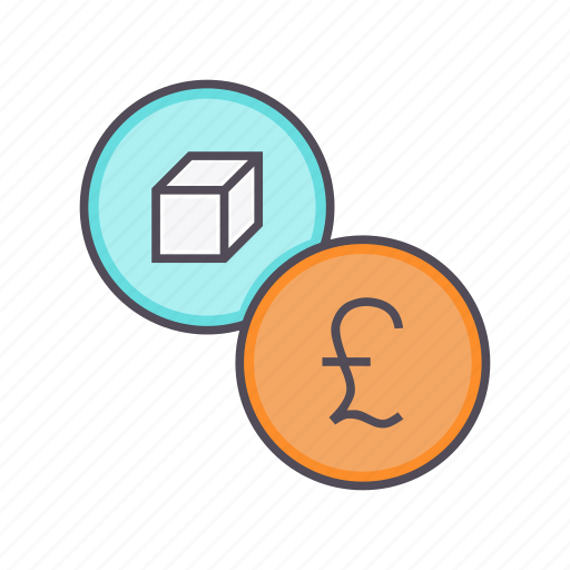 financial, listing, package, pound, product, sale, value icon