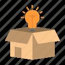 box, bulb, business, idea, solution