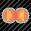 coin, dual, duplicate, face, man icon