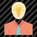 growth, idea, light, man, success icon