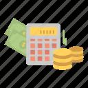 balance, calculator, dollar, money icon