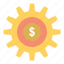 gear, money, setting, success icon