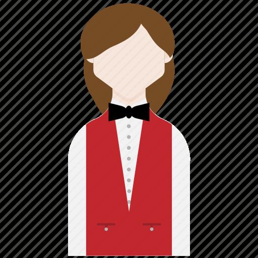 female, profession, receptionist, registration icon