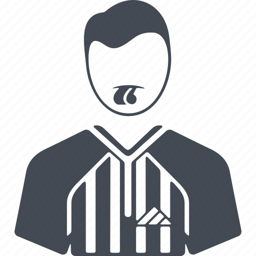 arbitrator, man, profession, whistle icon