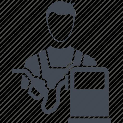 gas station, job, man, profession, refueller icon