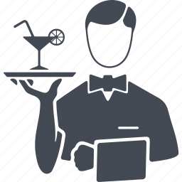 cocktail, job, profession, tray, waiter icon