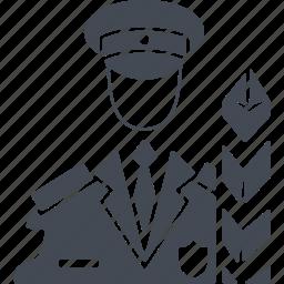 border, frontier guard, job, profession, uniform icon