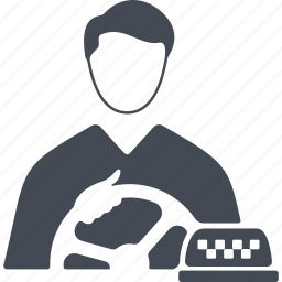 job, man, profession, steering wheel, taxi driver icon