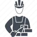 bricks, job, man, mason, profession, trowel icon