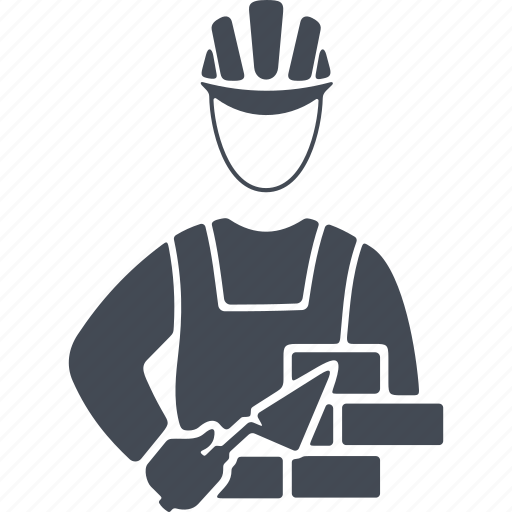 bricks, job, man, mason, profession, trowel icon