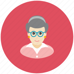 avatar, glasses, granny, occupation, old, profile, woman icon