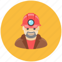 avatar, helmet, lamp, man, miner, occupation, profile icon