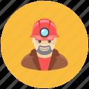 avatar, helmet, lamp, man, miner, occupation, profile