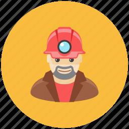 avatar, helmet, lamp, man, miner, occupation, profile icon