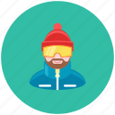 avatar, mountains, occupation, profile, skier, snowboarder, winter icon