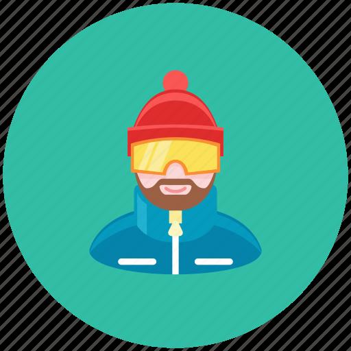 avatar, mountains, occupation, profile, skier, snowboarder, winter icon