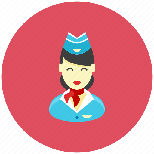 airplane, avatar, flight, occupation, profile, sky, stewardess icon
