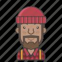 avatar, character, lumberjack, man, people, profession, profile