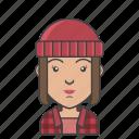 avatar, character, lumberjack, people, profession, profile, woman
