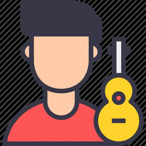 avatar, guitar, instrument, instrumentalist, musician, playback, singer icon