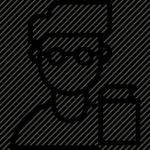 analyst, avatar, boy, college, guy, student, writter icon