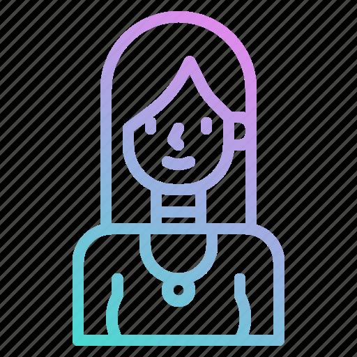 avatar, girl, people, profile, woman, working icon