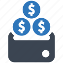 business, cash, coin, currency, finance, money, stack icon