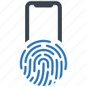 fingerprint, lock, locked, password, protect, secure, security icon