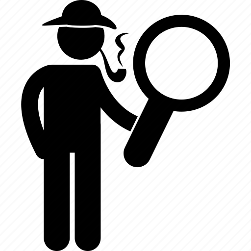 detective, finding, job, looking, magnifying glass, man, searching icon