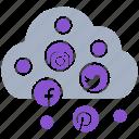 cloud, media, online, social, social market, web, web page icon