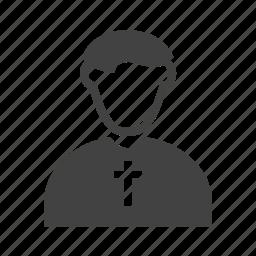 catholic, christian, church, cross, man, priest icon