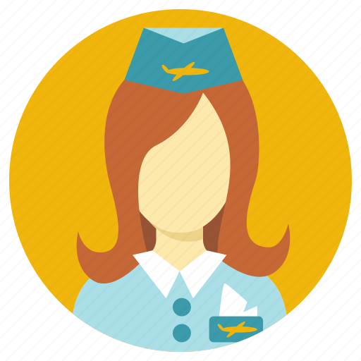 air hostess, airoplane, professions icon