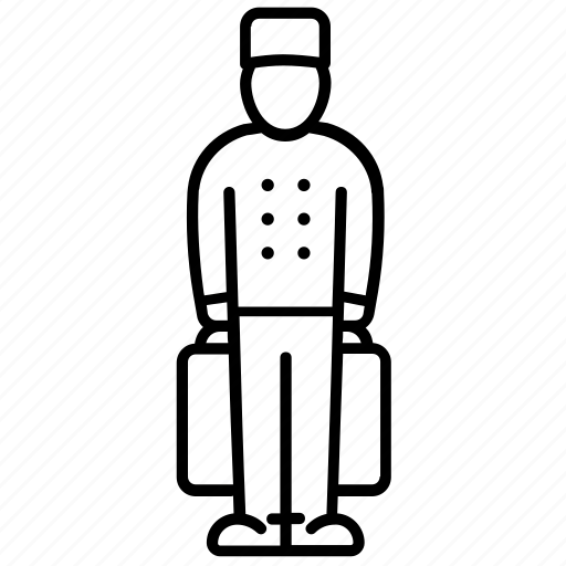 baggage, bellboy, body, hotel, human, profession, tips icon