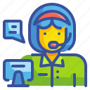 avatar, callcenter, job, profression, support, talk, woman icon