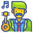 artist, avatar, guitar, musician, player, profression, song icon