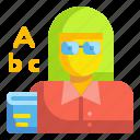 avatar, education, profression, school, teach, teacher, woman icon