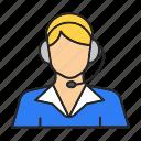 assistant, call center, headset, hotline, operator, secretary, woman icon