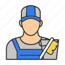 cleaner, cleaning, job, man, occupation, profession, worker icon